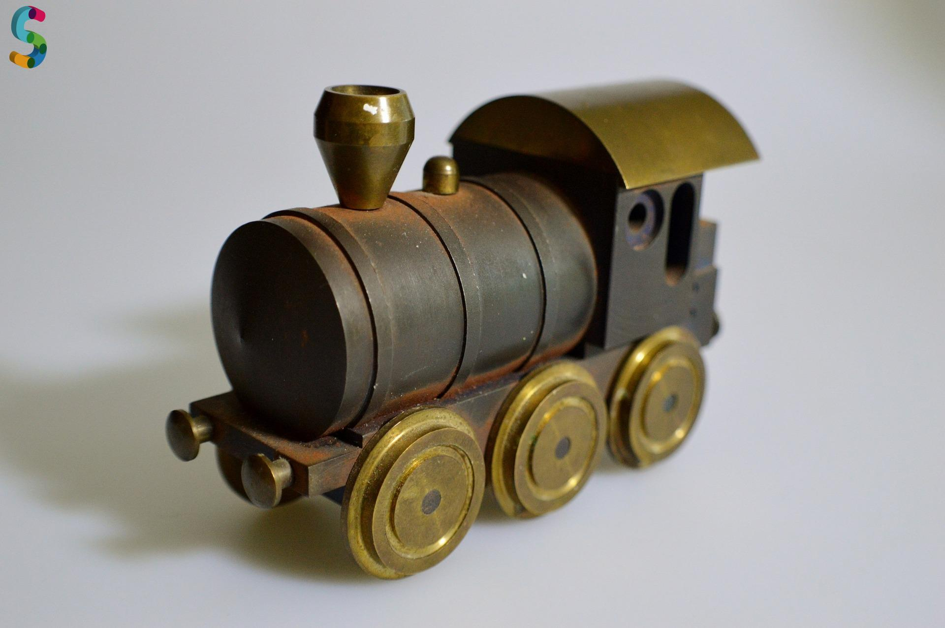 Locomotive en fer et laiton
