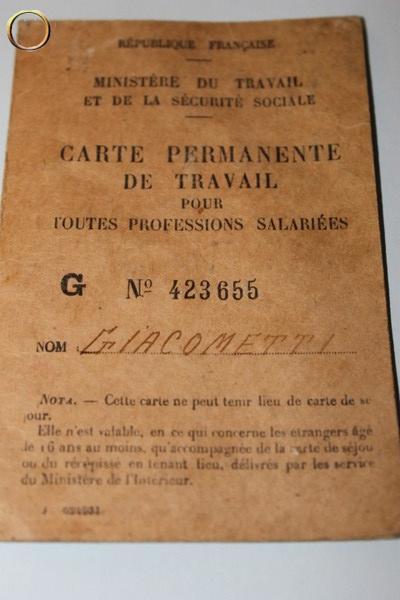 Vieux papiers : CARTE PERMANENTE DE TRAVAIL MINISTERE DU TRAVAIL ET SECURITE SOCIALE
