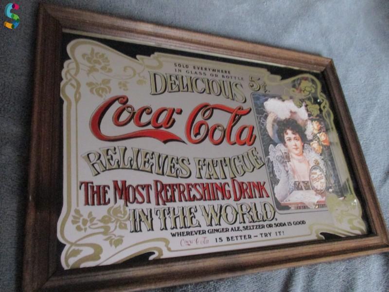 Ancien miroir publicitaire Coca Cola