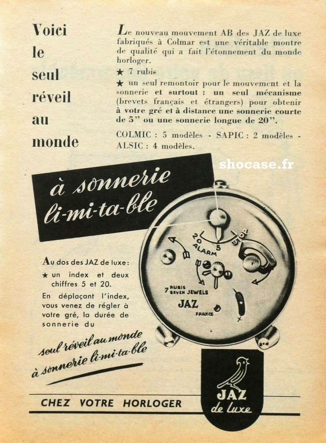 Publicité réveil JAZ COLMIC - SAPIC - ALSIC