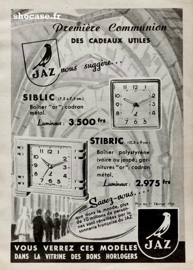 Publicité réveil JAZ SIBLIC - STIBRIC
