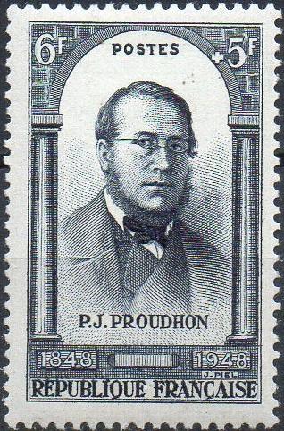 Timbre republique francaise 6F + 5F P.J. PROUDHON