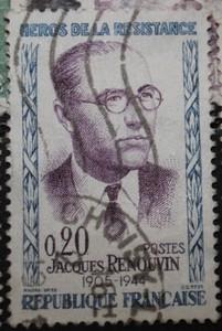 Timbre 0,20 F JACQUES RENOUVIN HEROS DE LA RESISTANCE