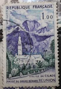 Timbre 1,00F Eglise de CILAOS