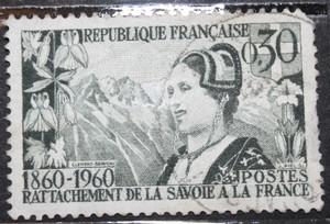 Timbre 0,30 F Rattachement de la Savoie à la France