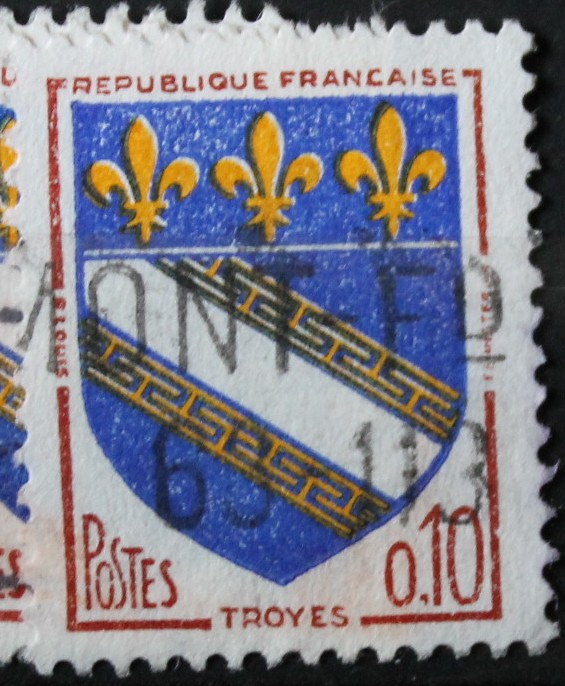 Timbre 0,10 F Troyes 1962