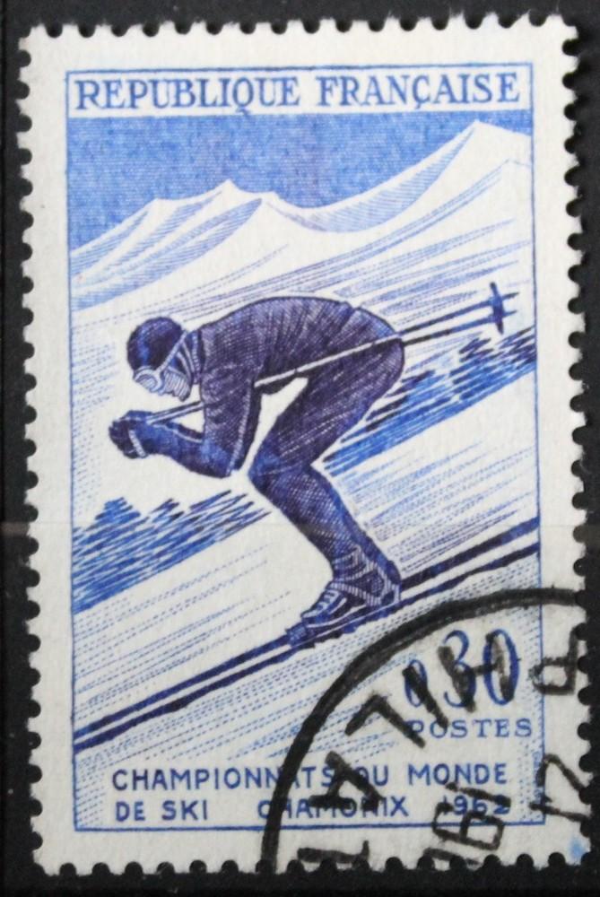 Timbre 0,30 F Ski alpin - Skieur 1962 championnat du monde Chamonix