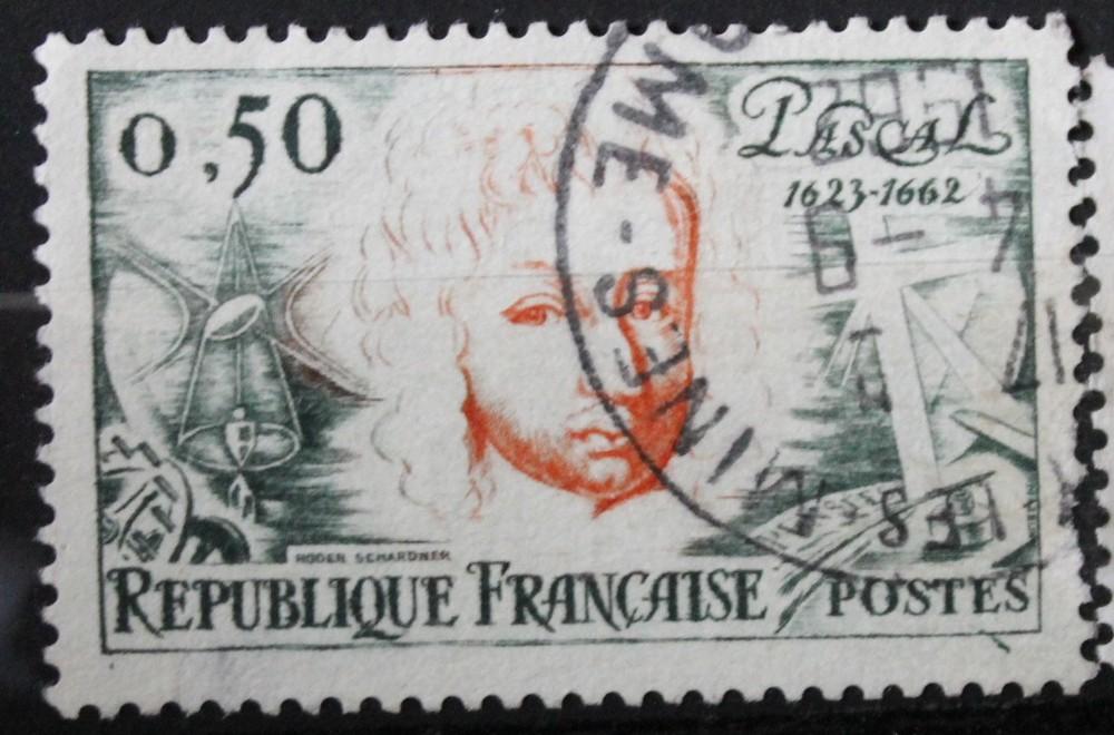 Timbre 0,50F Pascal 1623 - 1662