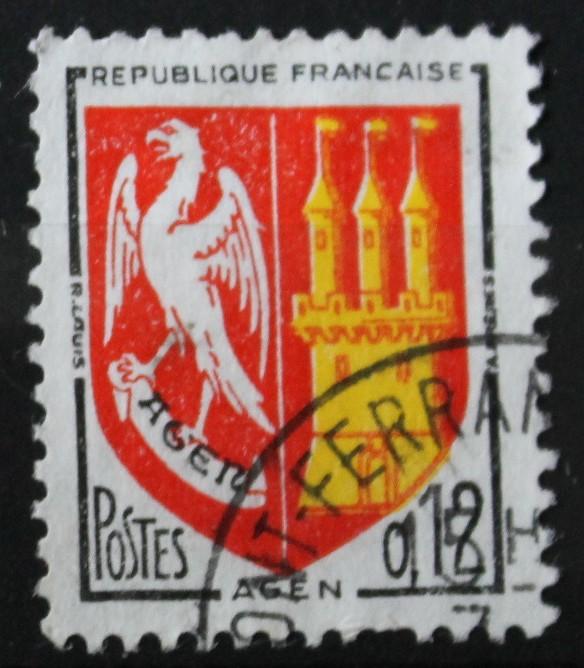 Timbre 0,12F Blason AGEN 1962