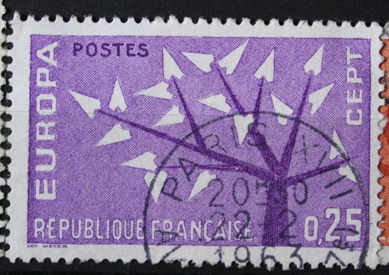 Timbre 0,25 F Arbre EUROPA violet