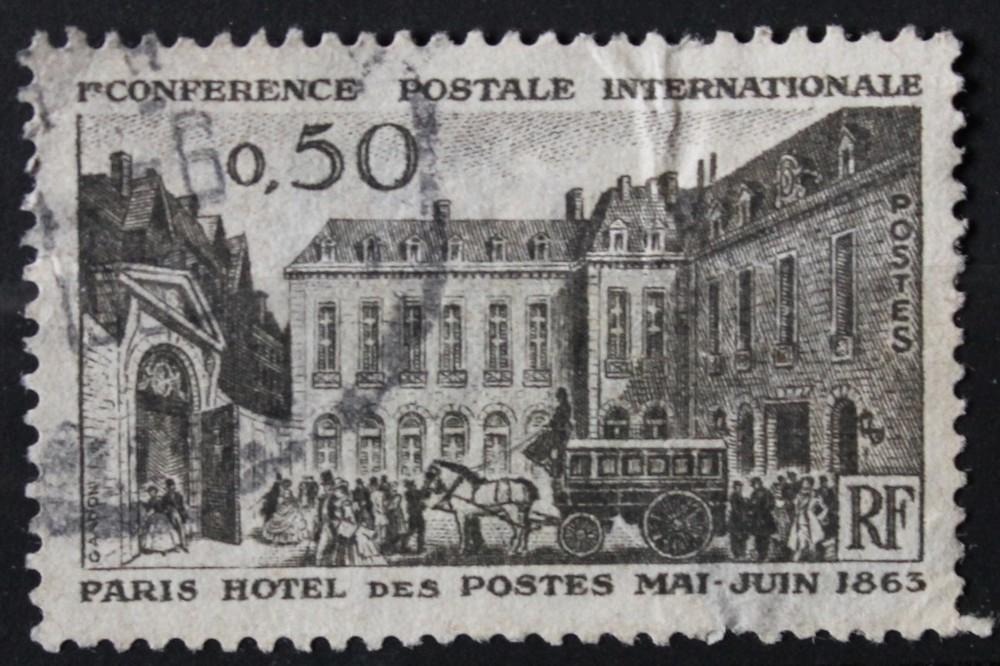 Timbre 0,50 F Hôtel des Postes centenaire conférence internationale