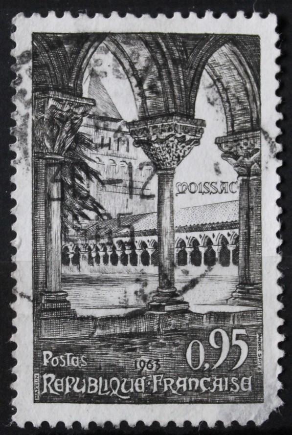Timbre 0,95 F 95c Abbaye de MOISSAC
