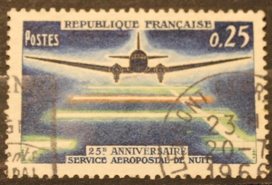 Timbre 0,25 25ème anniversaire du service aéropostal de nuit